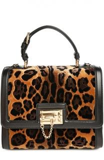 Сумка Monica с отделкой из вельвета с леопардовым принтом Dolce & Gabbana