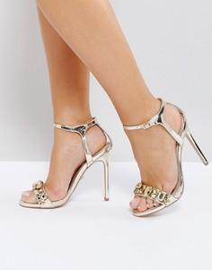 Босоножки на каблуке с отделкой цвета розового золота Carvela Gail - Золотой