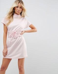 Платье-футболка мини с виниловым корсетом ASOS - Розовый