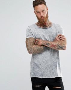 Серая длинная футболка с эффектом кислотной стирки и отворотами на рукавах ASOS - Серый