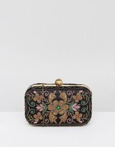 Клатч-футляр с цветочной вышивкой True Decadence - Мульти