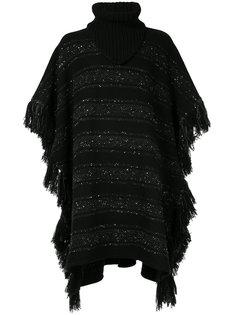 объемный свитер-пончо в блестящую полоску Takahiromiyashita The Soloist