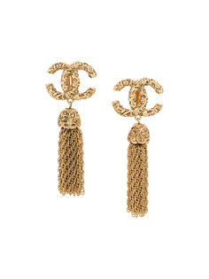 CC Fringe Earrings Chanel Vintage