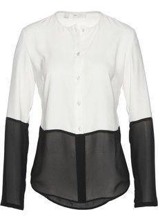 Сатиновая блузка в сочетании материалов (цвет белой шерсти/черный) Bonprix