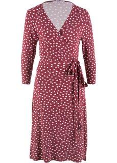 Платье с запахом в сердечко, рукав 3/4 (бордовый с рисунком) Bonprix