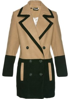 Короткое пальто из искусственной шерсти (черный/капучино) Bonprix