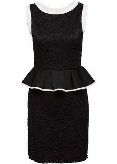 Кружевное платье с баской (черный/белый) Bonprix
