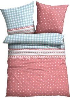 Постельное белье Виши, линон (нежно-голубой/светло-красный) Bonprix