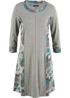 Трикотажное платье с рукавами 3/4 (серый меланж с рисунком) Bonprix