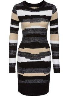Вязаное платье (светло-серый/черный) Bonprix