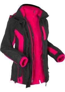 Функциональная куртка 3 в 1 (черный/розово-красный) Bonprix