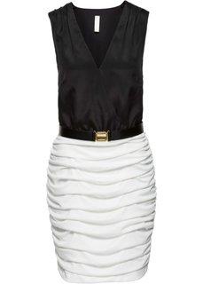 Платье с драпировкой и поясом (белый/черный) Bonprix