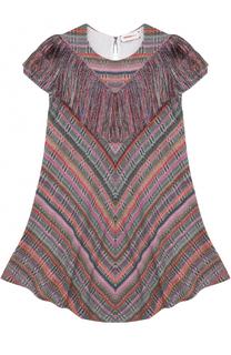 Трикотажное мини-платье с принтом и бахромой Missoni