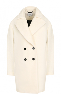 Двубортное шерстяное пальто с контрастными пуговицами Carven