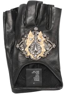 Кожаные митенки с декоративной отделкой Elie Saab