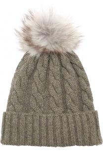 Кашемировая шапка фактурной вязки с меховым помпоном Kashja` Cashmere