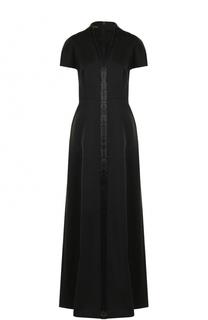 Приталенное платье-макси с V-образным вырезом Escada