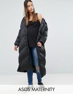 Длинная дутая куртка ASOS MATERNITY - Черный