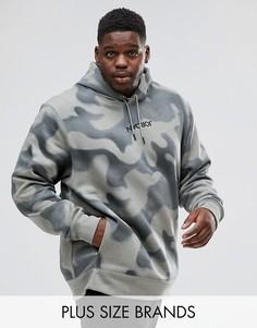 Худи из флиса с камуфляжным принтом Nike Jordan PLUS P51 Flight 860350-018 - Зеленый