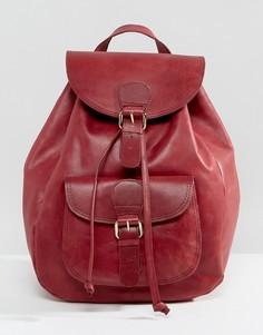 Кожаный рюкзак с карманом спереди ASOS - Красный