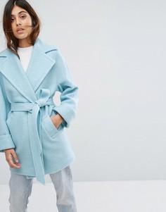 Пальто с добавлением шерсти и поясом Helene Berman - Синий