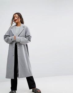 Шерстяное пальто Weekday - Серый