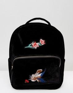 Бархатный рюкзак с вышивкой 7X - Черный