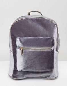 Бархатный рюкзак с молнией 7X - Серый