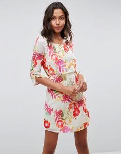 Платье с цветочным принтом и ремнем Lavand - Мульти
