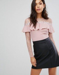 Короткое приталенное платье 2 в 1 с длинными рукавами Lipsy - Черный