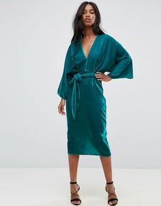 Платье-кимоно миди из бархата с глубоким вырезом и поясом ASOS - Синий