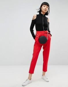 Брюки-галифе с D-кольцом ASOS Tailored - Красный