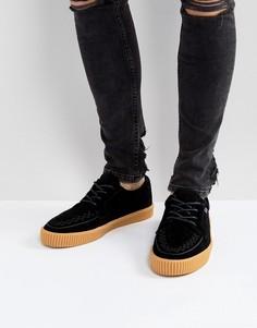 Замшевые кроссовки-криперы с резиновой подошвой T.U.K - Черный