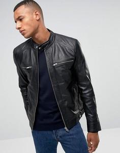 Кожаная куртка с четырьмя карманами Barneys Originals - Черный