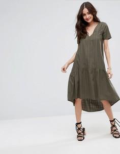 Фактурное платье-футболка миди свободного кроя ASOS - Зеленый