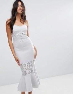 Облегающее платье миди с кружевными вставками ASOS - Серый