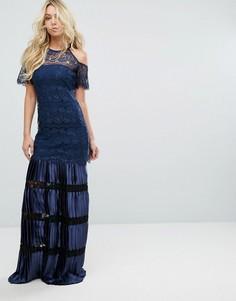 Кружевное платье макси с открытыми плечами Bodyfrock - Темно-синий