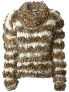 меховой свитер в полоску  Christian Dior Vintage