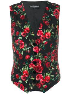 жилетка с принтом роз Dolce & Gabbana