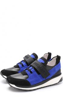 Кожаные кроссовки с замшевой отделкой и застежками велькро Dsquared2