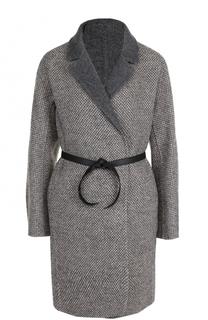 Шерстяное пальто с кожаным поясом Loro Piana