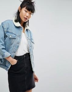 Синяя джинсовая куртка с искусственным мехом ASOS - Синий