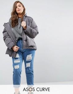 Дутая куртка с карманами ASOS CURVE - Серый