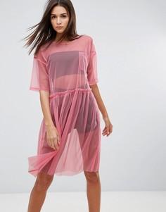 Сетчатое платье миди Uncivilised - Розовый