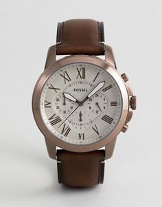 Часы-зронограф со светло-коричневым кожаным ремешком Fossil FS5344 - Рыжий