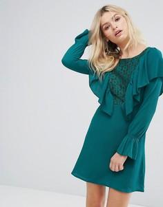 Платье с оборками и кружевом Rage - Зеленый