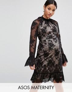 Кружевное платье мини с открытой спиной ASOS Maternity - Черный