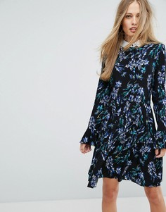 Платье 2-в-1 с рукавами клеш и ярким цветочным принтом Closet London - Мульти