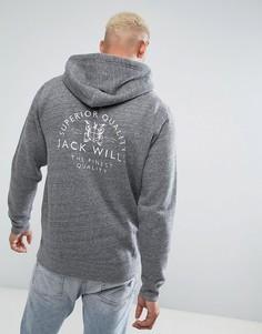 Худи серого цвета с принтом на спине Jack Wills Batsford - Серый