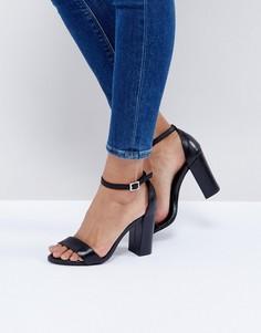 Черные босоножки из двух частей на блочном каблуке New Look - Черный